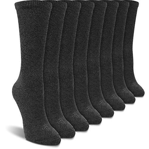 Doctor's Choice Women's Diabetic Crew Socks, Non-Binding, Circulatory, Cushioned, 4 Pack, Charcoal, Shoe Size 6-10, Sock Size 9-11