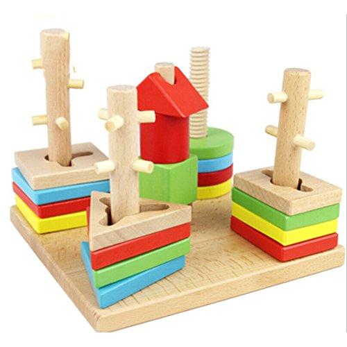 Pixnor Ensemble de blocs de géométrie colonne forme tri bâtiment en bois jouets assortissant jeu éducatif
