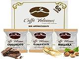 Caffè Vulcanus - Kit degustación 60 monodosis de café aromatizado ESE44 - Degustación de café con ginseng, avellana y...