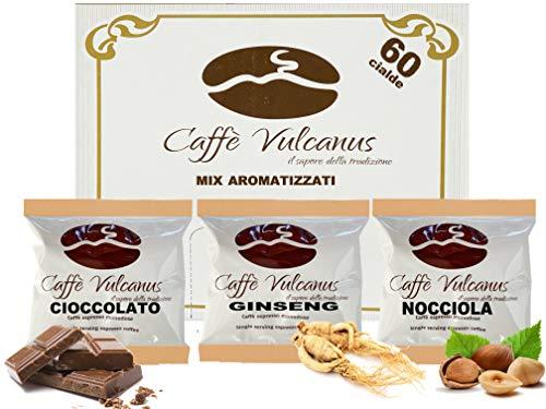 Caffè Vulcanus - Kit assaggio 60 cialde ESE44 di caffè aromatizzati - Degustazione caffè al ginseng, nocciola e cioccolato