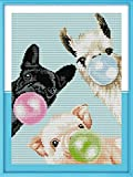 Animals Cross Stitch Kits for Adults Kids,Stamped Cross Stitching Kits Preprinted 11 Count Cross-Stitch Kit for Beginner,11CT Prestamped Easy Pattern Needlepoint Kits Crafts for Decor 12x16inch