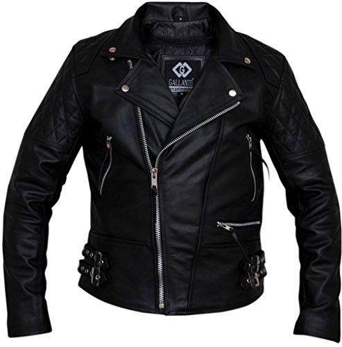 Infinity Kuh-Fell- Männer Retro Schwarz Echtes Leder Brando Motorrad Bikerjacke XL