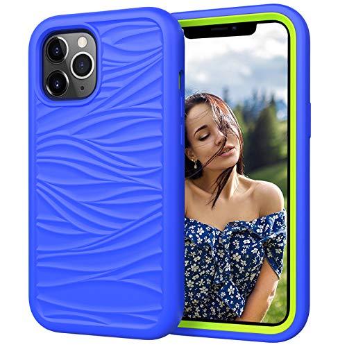 Funda para Iphone12/12 Pro/12 Pro MAX Carcasa Ondas de Rayas Suave TPU Protector Caso 3 en 1 Silicona+PC Anti Choque Caso Ultra Delgado Antideslizante Back Cover,Azul,7/8 Plus