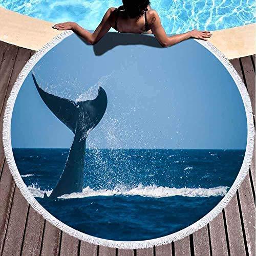 Toallas de playa redondas para adultos, ballena jorobada mostrando su cola salpicando fuera de la costa, Maui Hawaii, toalla de playa grande de 152 x 152 cm, para niños, mujeres y niños