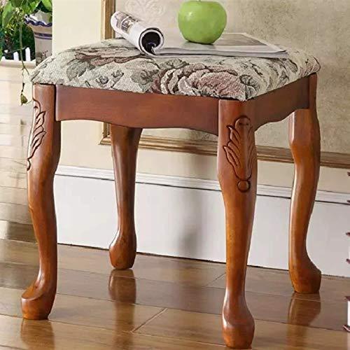N/Z Tägliche Ausrüstung Dressing Hocker Dressing Hocker Mode Makeup Hocker Geschnitzter Holzhocker Schlafzimmermöbel Stühle Hocker (Farbe: Braun Größe: 38x38x43cm)
