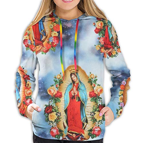 Sudadera con Capucha para Mujer, Manga Larga, con Bolsillos, cálida, Suave, cómoda y elástica, Virgen María Negro Negro (M