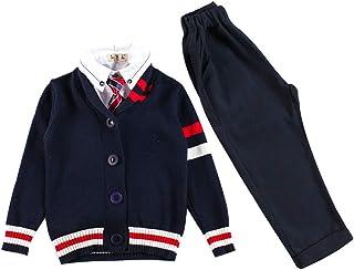 子供の秋と冬のユニフォーム、秋の英国風スクールのユニフォーム、4ピースのスーツ、子供の日