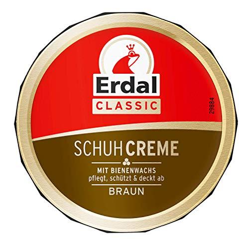 Bote de 75 ml de crema para zapatos Erdal Classic con cera de abeja marrón con aceites nutritivos, cuida, protege y refresca el color, 1 unidad (1 x 75 ml) (marrón)