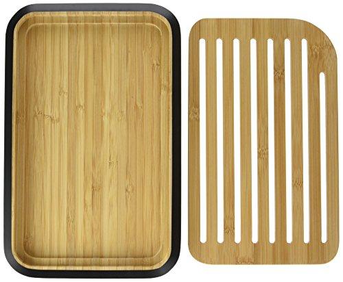 PEBBLY - NBA101 - Petite planche à pain en bambou noire avec grille amovible - Matériau naturel et résistant