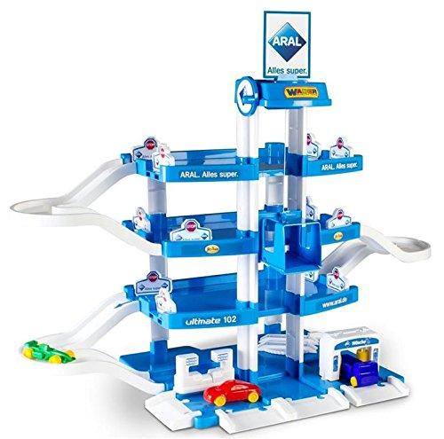 Wader Quality Toys Garage ARAL-2 mit 4 Ebenen und Autos