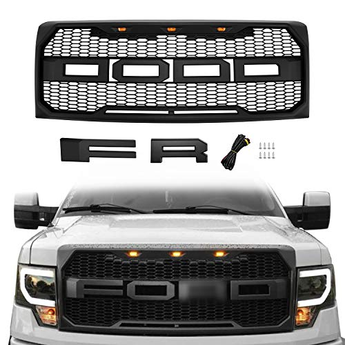 Raptor Style Grill for F150 2009 2010 2011 2012 2013 2014, Front Grille for Ford with F& R Letters and Three Bright Amber LED Lights, Matte Black