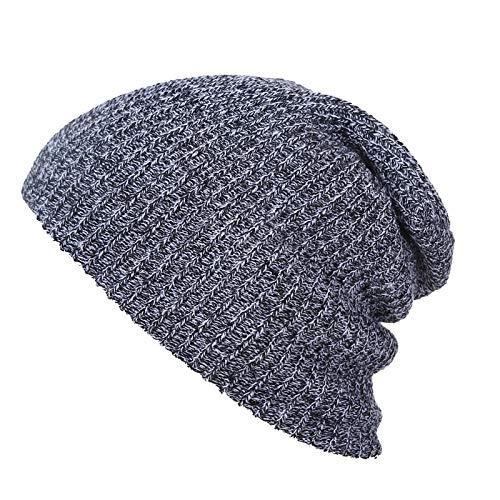 DYZWAZ Pullover Hiphop Mütze für Männer Frauen Zwirnstrick Unisex Warme Winterwolle Strickmütze SkiMütze Schädel Schlappmützen Mütze