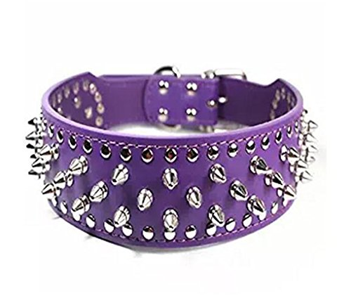 BTDCFY Hoot PU Leather Adjustable Spiked Studded Dog Collar 2' Wide 31 Spikes 52 Studs (S(Neck 17'-20'), Purple)