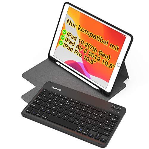 Inateck Tastatur Hülle für iPad 2019 10.2 Zoll(7. Gen) 2019, iPad Air 3 2019 & iPad Pro 10.5 2017, mit magnetischer Abnehmbarer Tastatur & Pencil Halter, QWERTZ, KB02012