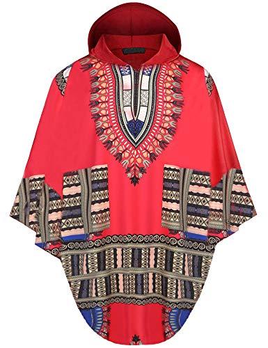 Daupanzees Mens African Print Dashiki Shirts Poncho Cape Hoodie Sweatshirts Pullover Cloak (Red, Medium)