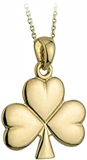 Solvar Shamrock Necklace Medium Gold Plated 18 Inches Chain Made in Ireland