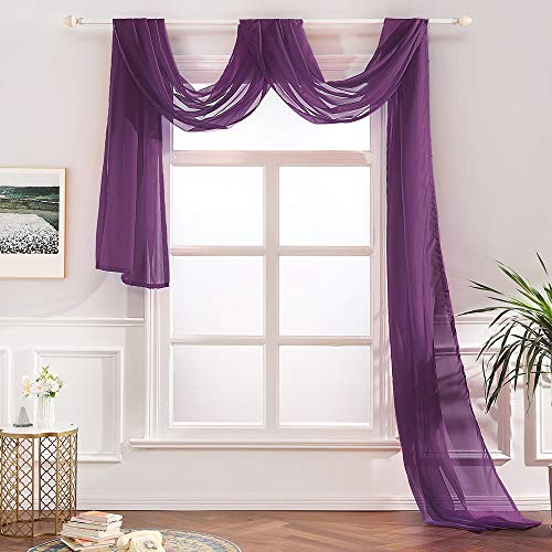 """MIULEE Luxury Window Scarf Sheer Voile Elegant Topper Long Window Valance Solid Window Treatment Swags Drapes for Window Ceremony Wedding Canopy Bed 54"""" x 216"""" Plum Purple"""