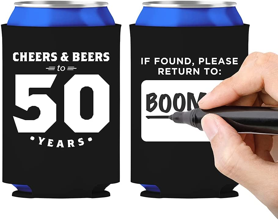 Happy Birthday and Wedding Anniversary Insulated Can Beverage Sleeve Coolers for Beer, Water, Soda - 13 Pack (50)