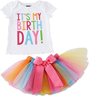 Girls'It's My Birthday Print Shirt Tutu Skirt Dress Outfit Set