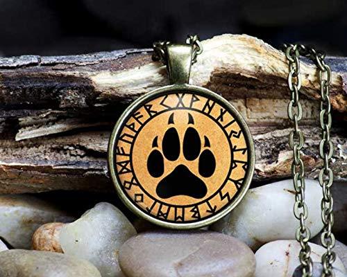Collar con Colgante de Huella de Lobo, diseño de Runa occulta