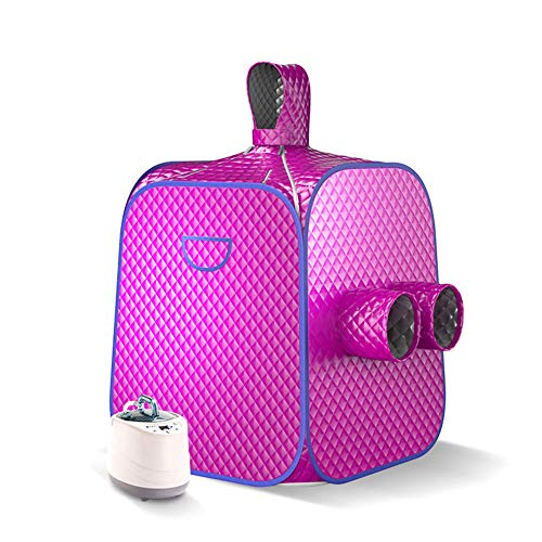 MELKEVDY Portable Steam Sauna, Personal at Home Remote Control 2L Steamer for Detox & Weight Loss Lightweight Double Person Spa,Purple