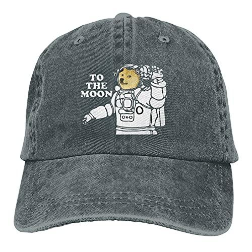 Dogecoin to The Moon-3 Gorra de béisbol ajustable, unisex, lavable, lavable