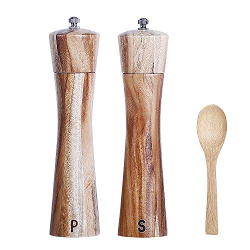 Wooden Salt and Pepper Grinder Set, Manual Pepper Grinder with Wood Spoon, Adjustable Coarseness and 3OZ Capacity for Kitchen, Pack of 2