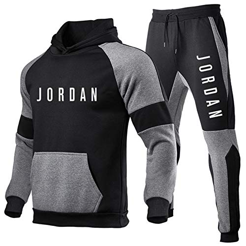 felpa jordan uomo Smkenor Set Tuta da Uomo Jordan 23# Felpa con Cappuccio Top Bottoms Jogging Jogging Pantaloni Sportivi da Palestra (S ~ 3XL)