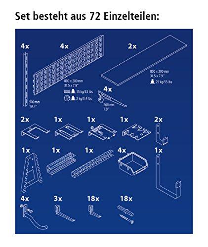 Element System ORGANIZER 3 Werkzeugwand aus Metall, 72-teilig inklusive Schrauben und Dübel, Lochwand weiß - 3
