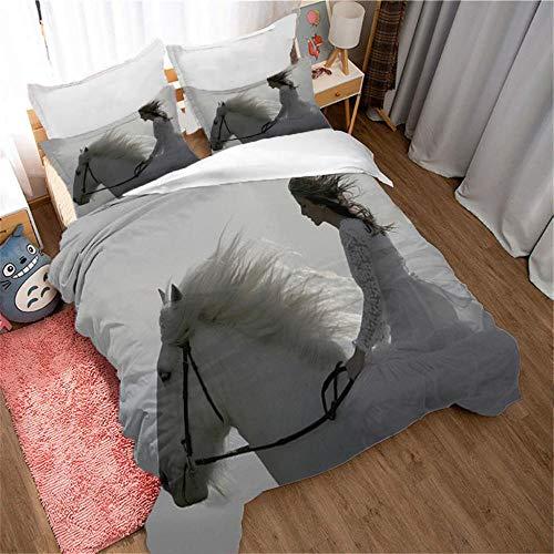 Påslakanset 3D-tryckta sängkläder med 1 påslakan och 2 örngott mjukt lätt mikrofiber, enkel skötsel antiallergisk, flicka som åker på en häst 220 x 240 cm