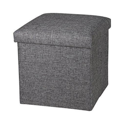 NISUNS OT01 Linen Folding Storage Ottoman Cube Footrest Seat, 12 X 12 X 12 Inches (Linen Gray)