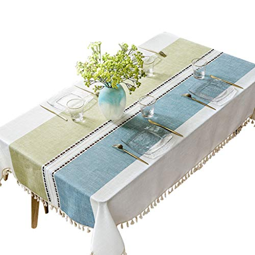 DHMHJH-nappes Nappe - Simple Salon Moderne Table Basse Nappe rectangulaire en Coton et Lin Petite Nappe fraîche - Multi-Taille en Option (Taille : 130×200cm)