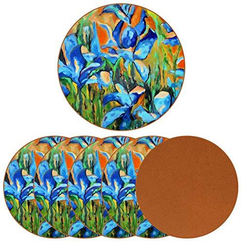 BENNIGIRY Iris Azules Untersetzer aus Leder, rund, hitzebeständig, für Tassen, Kaffeetasse, Einzelne für Glasbecher, 6 Stück