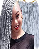 Palace hair 6Pack/LOT Senegalese Twist Crochet Hair Braids Small Easy Twist Crochet Braiding Hair 2S Senegalese Twists 14 inch 18inch 24inch 30strands/pack Hairstyles For Black Women color (14inchs, Silver)