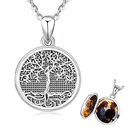 Colgante foto árbol de la vida, Collar de Medallón para Mujer, Personalizado con Foto Conmemorativa Parejas Joyería Regalos para Mujer, Mamá, Amigos (A-árbol de la vida)