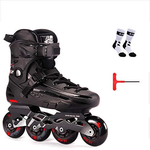 Prosperous Men and Women Breathable Inline Skates, Detachable Liner Adult Skates Thicker Bracket (Color : Black, Size : XL(41-42yards))