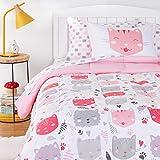 Amazon Basics Kids Easy-Wash Microfiber Bed-in-a-Bag Bedding Set - Twin, Pink Kitties