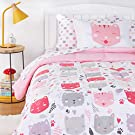 Amazon Basics Kids Easy-Wash Microfiber Bed-in-a-Bag Bedding Set - Twin, Pink Kitties