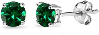 Sterling Silver Simulated Emerald 4mm Round-Cut Solitaire Stud Earrings