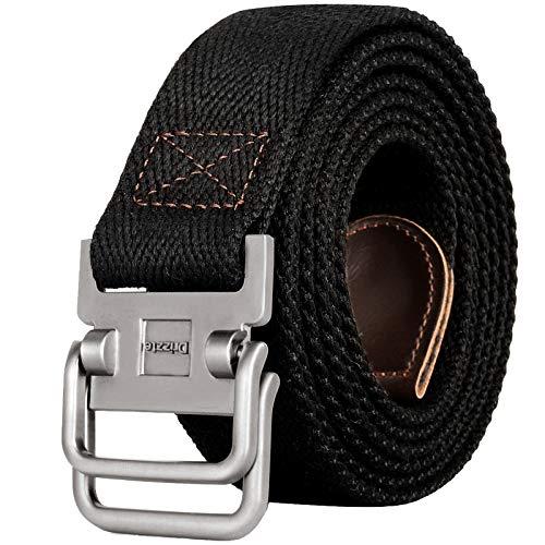 Drizzte 71'' Long Belt Plus Size Double D Ring Mens Canvas Web Belts Black