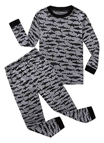 Shark Big Boys Long Sleeve Pajamas Sets 100% Cotton Pyjamas Kids Pjs Size 10 Gray