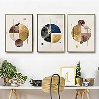 装飾画 リビングルームのための現代キャンバス壁のアート3枚のパネル抽象幾何ラウンド額入りキャンバス地写真プリント あなたの家を飾る (色 : 3 Panels, Size : 30x40cm)