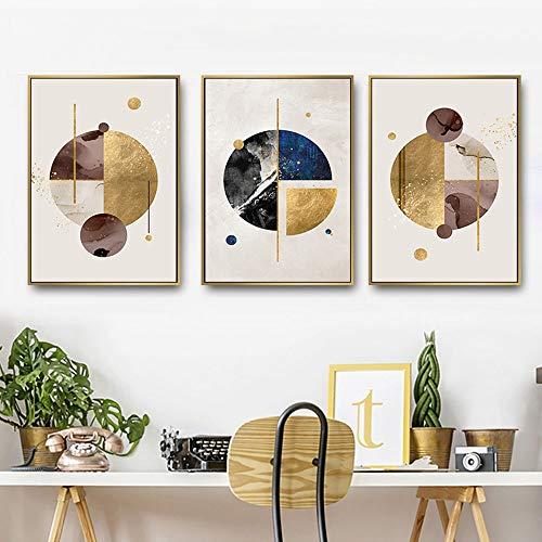 GJHT Poster & Drucke 3 paneele abstrakte Geometrie runde gerahmte leinwand Bilder drucks für Wohnzimmer Wand dekor Moderne leinwand wandkunst Für Kinderzimmerdekor (Color : 3 Panels, Size : 40x60cm)
