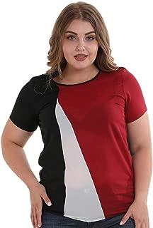 DADKA Womens Shirt Plus Size Blouse Fashion Chiffon Short Sleeve Patchwork Tops Blouse