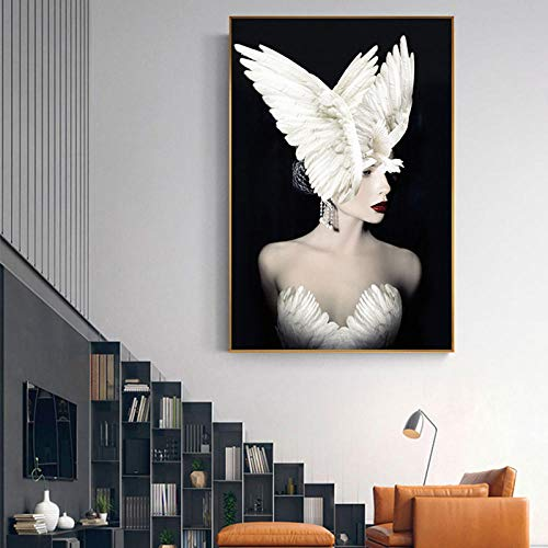 Nobrand Abstract White Feather Girl Painting Big Poster Jurk, wit, voor dames, muurkunst, 60 x 90 cm, zonder lijst