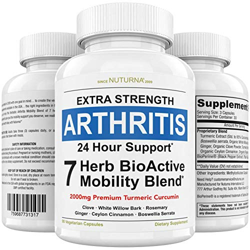 Arthritis Pain Relief Supplement, Joint Pain, Tenderness & Stiffness Support - Rheumatoid Arthritis BioActive Mobility Blend for Inflammation, Muscle Pain Relief, Back and Knee Supplement