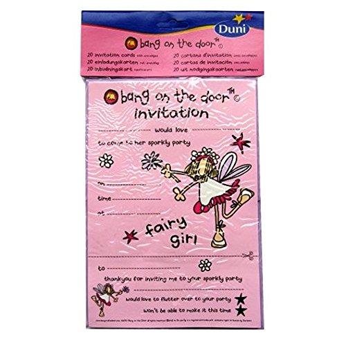 Bang on the Door fête d'anniversaire cartes d'invitation - Fée Fille - 20 cartes et enveloppes