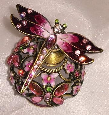 Welforth Jeweled Pink Dragonfly & Flower Enamel Round Crystal Perfume Bottle