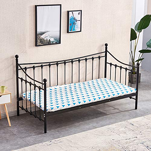 4HOMART Single Bed Metal Frame Safety Fence Headboard Solid Wooden Slat Mattress Fits Mattress Sofa Bed for Living Room Guest Room