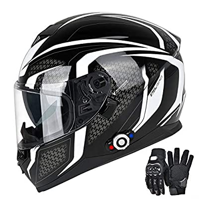 FreedConn Bluetooth Motorcycle Helmet DOT Full Face Bluetooth Helmets Motorcycle (Black & White, XL)